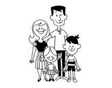A happy family coloring page