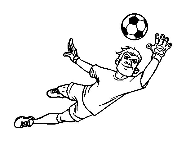 A soccer goalkeeper coloring page