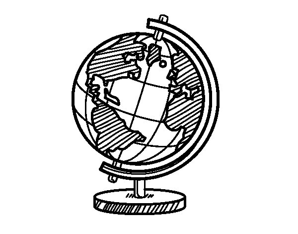 A terrestrial globe coloring page