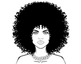 Afro hairstyle coloring page