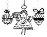 Angel and Christmas ornaments coloring page