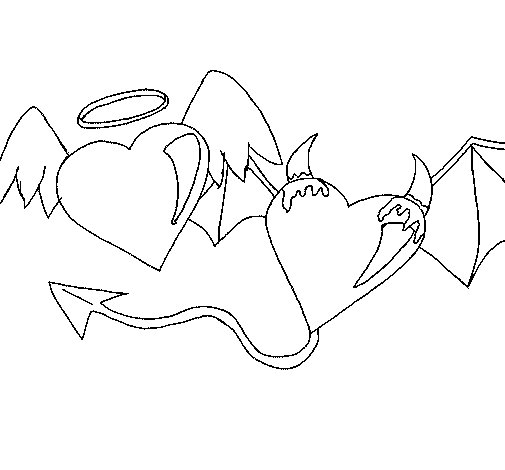 Angel devil coloring page for Devil coloring pages