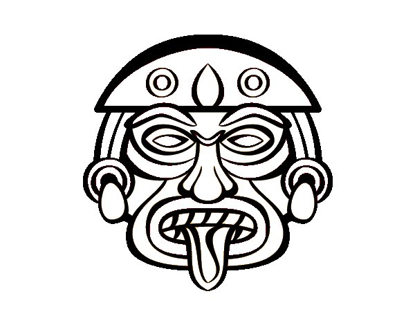 Mayan Mask Coloring Pages