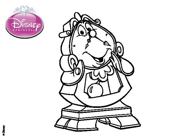 Lumiere Coloring Pages Cogsworth Coloring Page