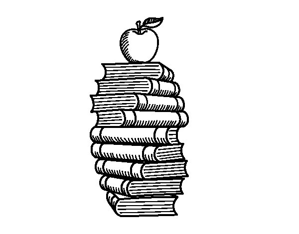 Books and apple coloring page