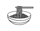 Bowl of noodles coloring page