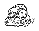 Dibujo de Boys driving