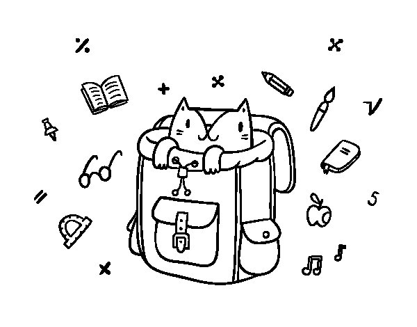 Cat in a backpack coloring page - Coloringcrew.com