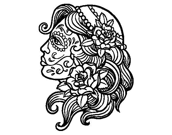 Catrina tattoo coloring page - Coloringcrew.com