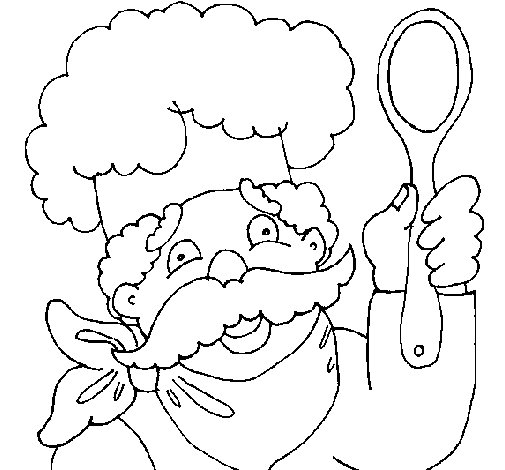 Chef with moustache coloring page - Coloringcrew.com