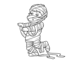 Child dressed as a mummy coloring page