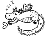 Childish dragon sleeping coloring page