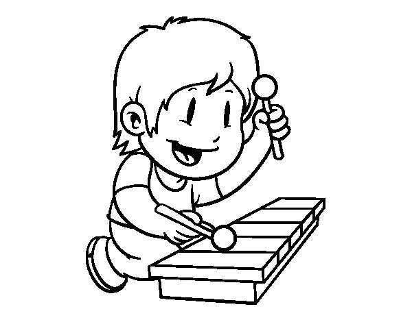 Niño Leyendo Un Libro Colouring Pages Page 2: Children With Xylophone Coloring Page