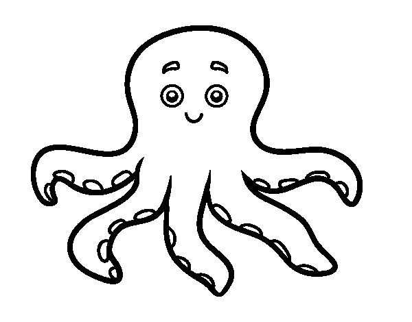 Childrish octopus coloring page