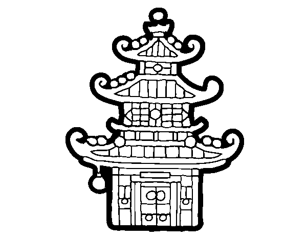 Chinese pagoda coloring page - Coloringcrew.com
