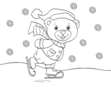 Christmas skating teddy bear coloring page
