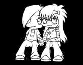 Dibujo de Couple Emo