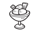 Cup with three balls of ice cream coloring page