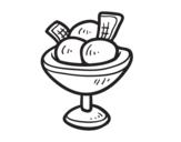 Dibujo de Cup with three balls of ice cream