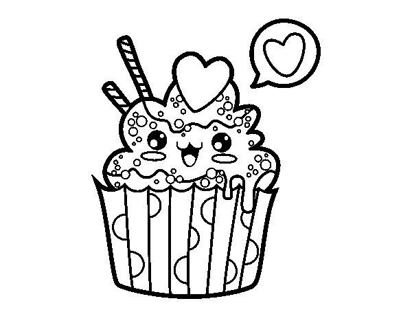 Cupcake kawaii coloring page - Coloringcrew.com