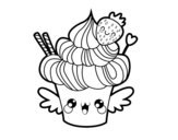 Cupcake kawaii with strawberry coloring page