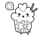 Cupcake kawaii with tie coloring page