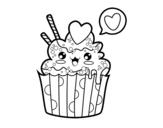 Cupcake kawaii coloring page
