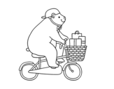 Cyclist bear coloring page