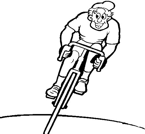Page Cyclist Cyclist With Cap Coloring Page