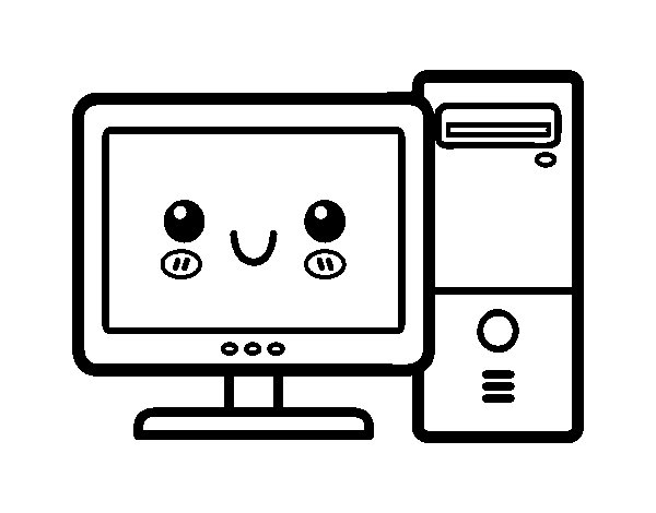 Desktop computer coloring page for Coloring pages on computer