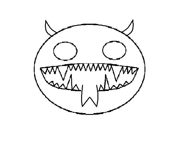 Devil face coloring page