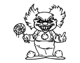 Diabolical clown coloring page
