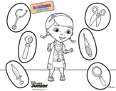 Doc McStuffins with her instruments coloring page