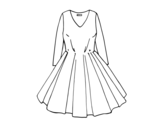 Dress with full skirt coloring page