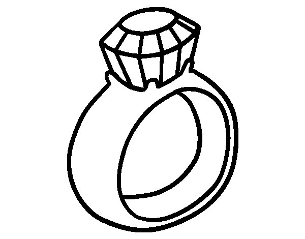 Engagement Diamond Ring Coloring Page