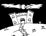 Evil castle coloring page