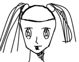 Dibujo de Face of girl with pigtails