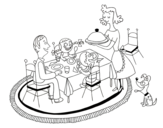 Family dinner coloring page