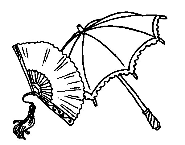 Fan Pictures to Color Fan And Umbrella Coloring Page