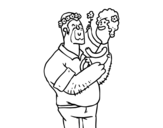 Father and daughter with flowers coloring page
