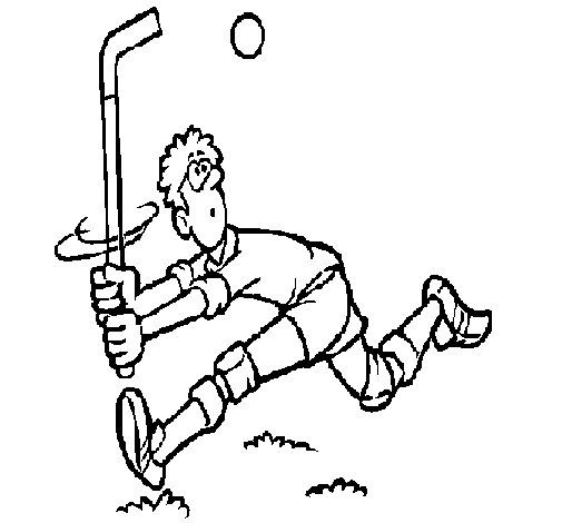 Field hockey player coloring page