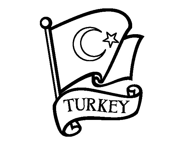 Flag of Turkey coloring page