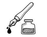 Fountain pen and inkwell coloring page
