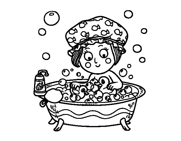 girl taking a bath coloring page coloringcrewcom