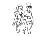 Grandparents couple coloring page