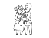 Grandparents in love coloring page