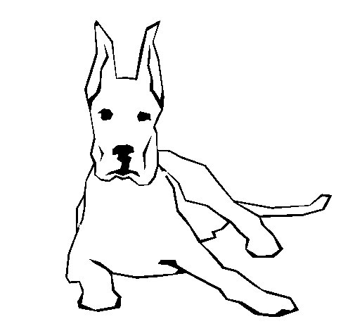 great dane lying down coloring page