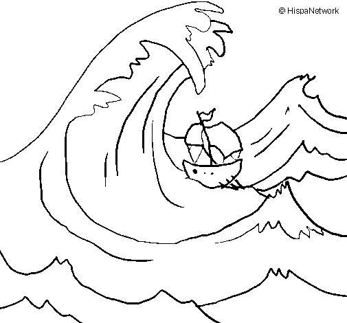 Great wave coloring page - Coloringcrew.com