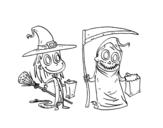 Dibujo de Halloween Trick-or-treating