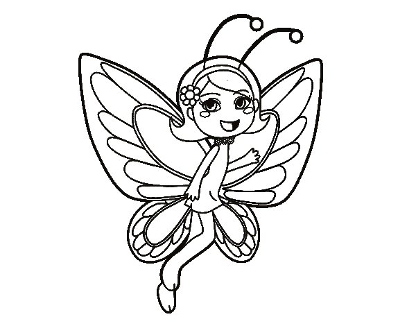happy butterfly fairy coloring page. Black Bedroom Furniture Sets. Home Design Ideas